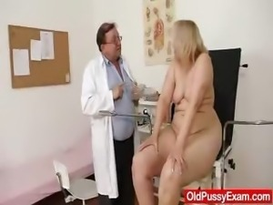 Blond-haired chubby milf explored by cunt doctor