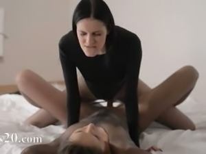 Luxury babes with strapon in hot