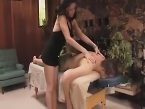 Roxie Le Roux, from the goth gangbang series is back giving a massage to Matt.