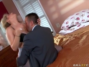 Adorable young blonde real estate agent Dayna Vendetta with huge