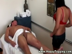 Big titted hot asian masseuse going down on client free