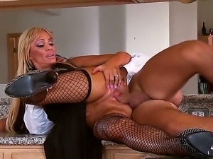 Mature blonde Houston pleases horny younger guy Keiran Lee with amazing...