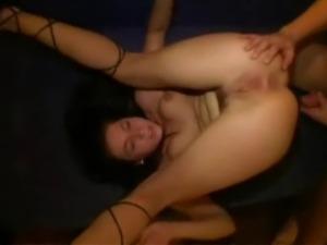Seriously hot brunette girl fucks in the kitchen