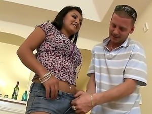 Latina Leeza Monroe shows off her hot body while getting pounded hard and...
