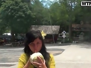 Sexy Asian babe in yellow outfit Bella gets horny and masturbates in a public...