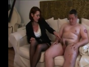 A naughty brunette dominant insulting guys penis size