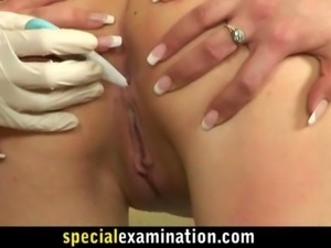 Rude army gynecologist and shy blonde babe