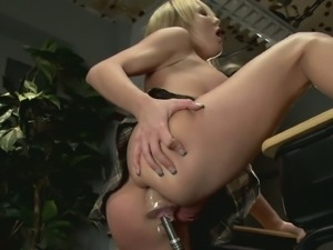 Half naked blonde tries a fucking machine