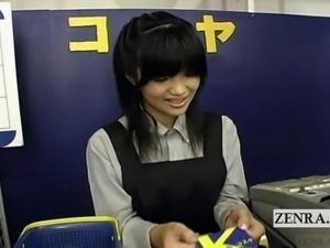 Subtitled Japan video rental shop busty AV star service