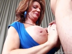 Cock hungry and busty cougar honey Deauxma gets down on her knees and gives...