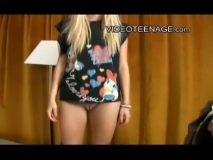 """lovely european """"emo"""" style blond teen try a first sexy video casting"""