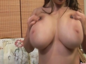 Teen babe Gina G stripping off to show and play with her massive 40HH tits...
