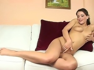 Dirty and horny brunette babe Marketa enjoys in teasing and taking her...