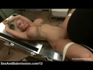 Bound blonde fucked in gynecological table free