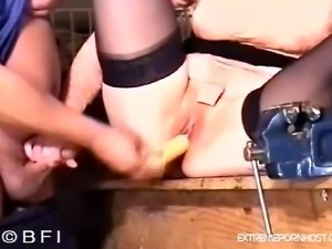 Vintage video of a old dude who gets a handjob from his wife in the garage....