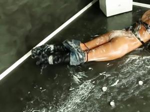 Classy cumshot drenched bukkake babe at gloryhole