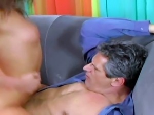 Young pretty brunette Naomi with natural boobies has crush on older neighbor....