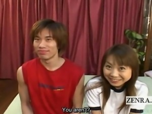 Subtitled Japanese amateur interview foreplay threesome