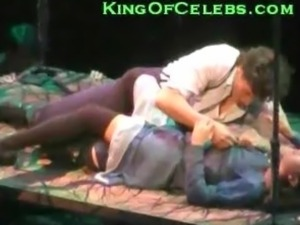 Lea Michele from Glee shows her tiny nipples in a play called Spring Awakening.