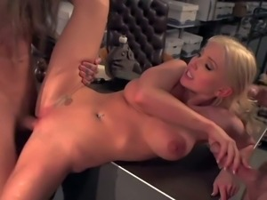 Tight ass blonde doll Christie Stevens with huge round hooters and slutty...