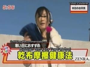 Subtitled crazy Japan news towel rubbing demonstration