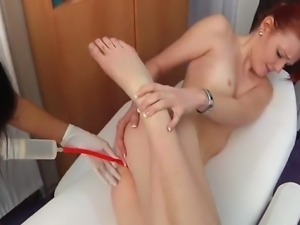 Before regular gyno check-up, Maggie is analy examined and then gets  an enema.