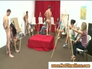 Clothed sluts give guys blowjobs untill they cum in art class free