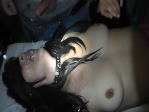 Naughty wife Marion gets gangbanged by lots of strangers in a dark porn cinema.