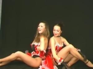 Hot flexible lesbians dancing