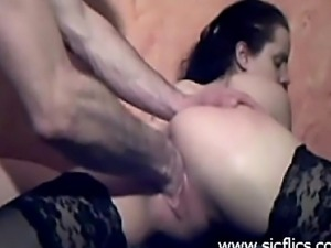 Kinky amateur slut gets brutally fist fucked in her loose pussy till she cums...