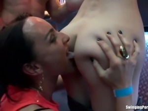 Seductively club tramps sucking and fucking hard pricks in public