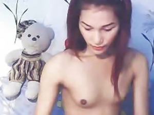 Asian Ladyboy Masturbates