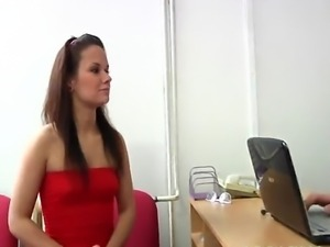 Long haired girl visits gynecologist for her first gyno exam. Deep vaginal...
