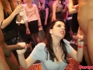 Dicksucking party sluts feeding on dick at the sex party