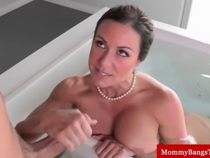 Cougar milf sucking cock after he busts her masturbating