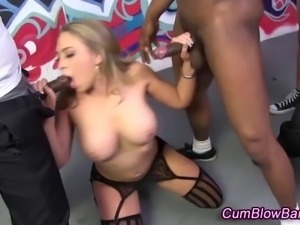 Interracial spit roasting for dick hungry stockinged gang bang skank