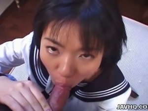 Rino Sayaka sports a cute schoolgirl outfit and she is getting that wet hairy...