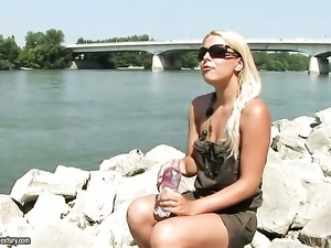 Blonde Brandy Smile satisfies her sexual needs and desires alone in solo scene