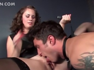 Excited mistress in stockings having her sex slave lick her wet cunt