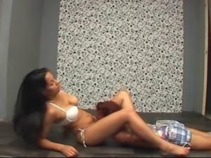 horny brazilian chick scissoring her little bitch