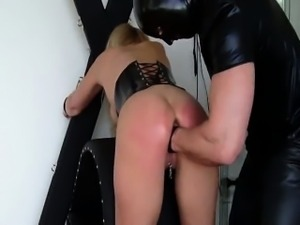Busty blond slave brutally fisted till she squirts