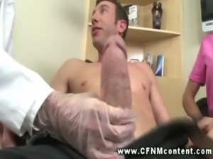 Nurse and doctor tugging cock for this very lucky guy free