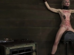 Petite blonde BDSM sub Sarah Jane Ceylon on sybian