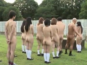 Subtitled uncensored outdoor nudist Japanese school