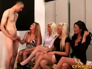 Group CFNM matures play with lucky guys dick