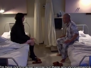 Subtitled uncensored bizarre hospital Japanese handjob