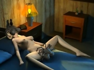 3D babe getting double teamed by alien spiders