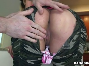Naughty sexy Carmen Ross displays her big round ass and flashes her juicy...