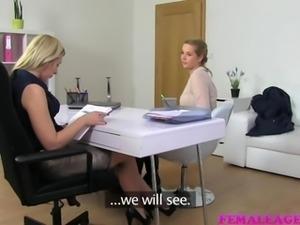 FemaleAgent Natural busty curvy blonde enjoys first lesbian casting
