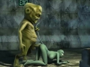 Hot 3D cartoon cat babe getting fucked by an alien